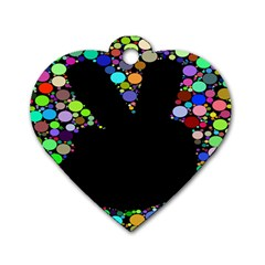 Prismatic Negative Space Comic Peace Hand Circles Dog Tag Heart (One Side)