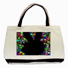 Prismatic Negative Space Comic Peace Hand Circles Basic Tote Bag (Two Sides)