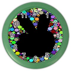 Prismatic Negative Space Comic Peace Hand Circles Color Wall Clocks