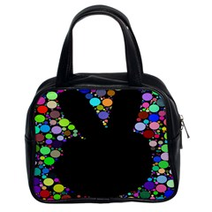 Prismatic Negative Space Comic Peace Hand Circles Classic Handbags (2 Sides)