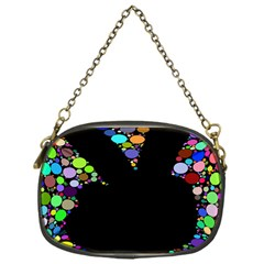 Prismatic Negative Space Comic Peace Hand Circles Chain Purses (One Side)