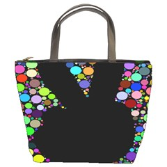 Prismatic Negative Space Comic Peace Hand Circles Bucket Bags
