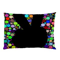 Prismatic Negative Space Comic Peace Hand Circles Pillow Case