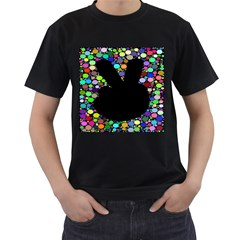 Prismatic Negative Space Comic Peace Hand Circles Men s T-Shirt (Black)