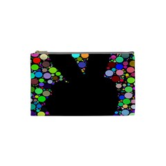 Prismatic Negative Space Comic Peace Hand Circles Cosmetic Bag (Small)