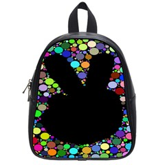 Prismatic Negative Space Comic Peace Hand Circles School Bags (Small)