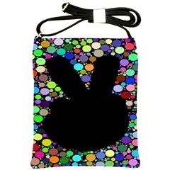 Prismatic Negative Space Comic Peace Hand Circles Shoulder Sling Bags