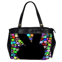 Prismatic Negative Space Comic Peace Hand Circles Office Handbags (2 Sides)