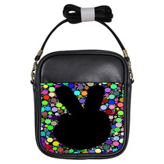 Prismatic Negative Space Comic Peace Hand Circles Girls Sling Bags