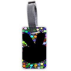 Prismatic Negative Space Comic Peace Hand Circles Luggage Tags (One Side)