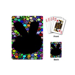 Prismatic Negative Space Comic Peace Hand Circles Playing Cards (Mini)