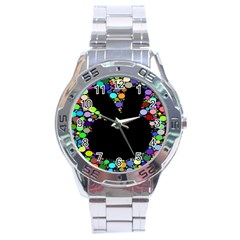 Prismatic Negative Space Comic Peace Hand Circles Stainless Steel Analogue Watch