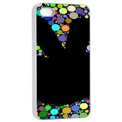 Prismatic Negative Space Comic Peace Hand Circles Apple iPhone 4/4s Seamless Case (White)