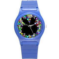 Prismatic Negative Space Comic Peace Hand Circles Round Plastic Sport Watch (S)