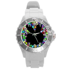 Prismatic Negative Space Comic Peace Hand Circles Round Plastic Sport Watch (L)