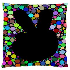 Prismatic Negative Space Comic Peace Hand Circles Large Cushion Case (Two Sides)