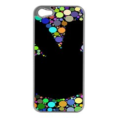 Prismatic Negative Space Comic Peace Hand Circles Apple iPhone 5 Case (Silver)