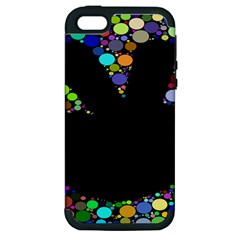 Prismatic Negative Space Comic Peace Hand Circles Apple iPhone 5 Hardshell Case (PC+Silicone)