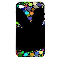 Prismatic Negative Space Comic Peace Hand Circles Apple iPhone 4/4S Hardshell Case (PC+Silicone)