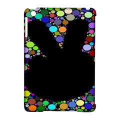 Prismatic Negative Space Comic Peace Hand Circles Apple iPad Mini Hardshell Case (Compatible with Smart Cover)