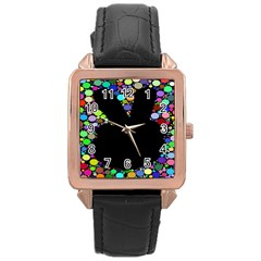 Prismatic Negative Space Comic Peace Hand Circles Rose Gold Leather Watch