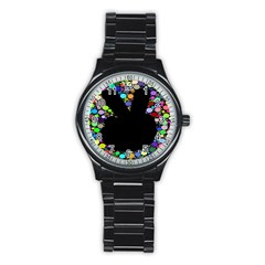 Prismatic Negative Space Comic Peace Hand Circles Stainless Steel Round Watch