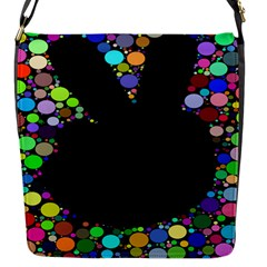 Prismatic Negative Space Comic Peace Hand Circles Flap Messenger Bag (S)