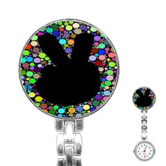 Prismatic Negative Space Comic Peace Hand Circles Stainless Steel Nurses Watch