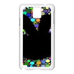 Prismatic Negative Space Comic Peace Hand Circles Samsung Galaxy Note 3 N9005 Case (White)