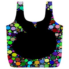 Prismatic Negative Space Comic Peace Hand Circles Full Print Recycle Bags (L)