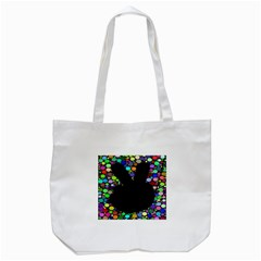 Prismatic Negative Space Comic Peace Hand Circles Tote Bag (White)