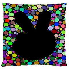 Prismatic Negative Space Comic Peace Hand Circles Large Flano Cushion Case (One Side)