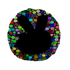 Prismatic Negative Space Comic Peace Hand Circles Standard 15  Premium Flano Round Cushions