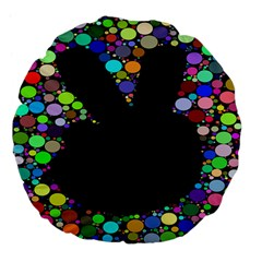 Prismatic Negative Space Comic Peace Hand Circles Large 18  Premium Flano Round Cushions