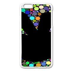 Prismatic Negative Space Comic Peace Hand Circles Apple iPhone 6 Plus/6S Plus Enamel White Case