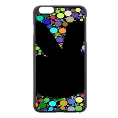 Prismatic Negative Space Comic Peace Hand Circles Apple iPhone 6 Plus/6S Plus Black Enamel Case