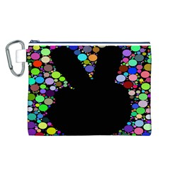 Prismatic Negative Space Comic Peace Hand Circles Canvas Cosmetic Bag (L)