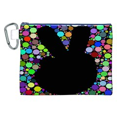 Prismatic Negative Space Comic Peace Hand Circles Canvas Cosmetic Bag (XXL)