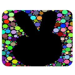 Prismatic Negative Space Comic Peace Hand Circles Double Sided Flano Blanket (Medium)