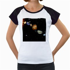 Outer Space Planets Solar System Women s Cap Sleeve T