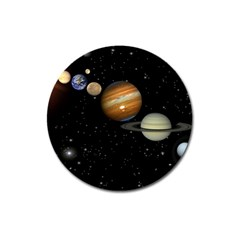 Outer Space Planets Solar System Magnet 3  (round)