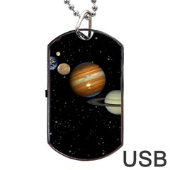 Outer Space Planets Solar System Dog Tag Usb Flash (one Side)