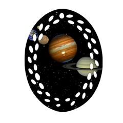Outer Space Planets Solar System Oval Filigree Ornament (two Sides)