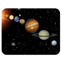 Outer Space Planets Solar System Double Sided Flano Blanket (medium)