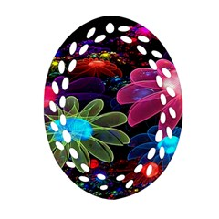 Nice 3d Flower Oval Filigree Ornament (two Sides)