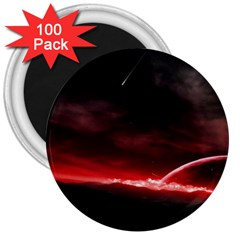 Outer Space Red Stars Star 3  Magnets (100 Pack)