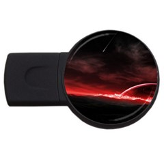 Outer Space Red Stars Star Usb Flash Drive Round (2 Gb)