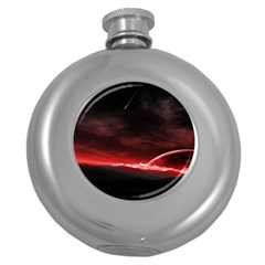 Outer Space Red Stars Star Round Hip Flask (5 Oz)