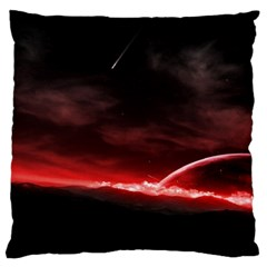 Outer Space Red Stars Star Standard Flano Cushion Case (one Side)