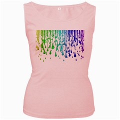 Paint Drops Artistic Women s Pink Tank Top